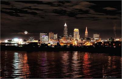 Moonrise Over Cleveland Skyline Art Print