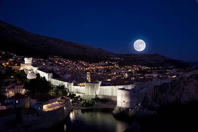 Photograph - Moonrise Over Dubrovnik by Alexey Stiop