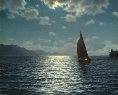 Leman Painting - Moonrise Over Lake Leman by Ivan Fedorovich Choultse