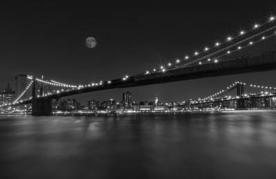Moonrise Over Manhattan Bw Print by Susan Candelario
