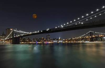 Bridge Photograph - Moonrise Over Manhattan II by Susan Candelario