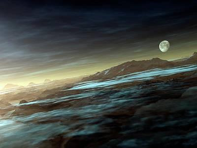 Moonrise Over Mountains Art Print