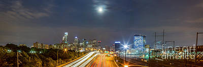 Science Tees Rights Managed Images - Moonrise Over Philadelphia Royalty-Free Image by Abe Pacana