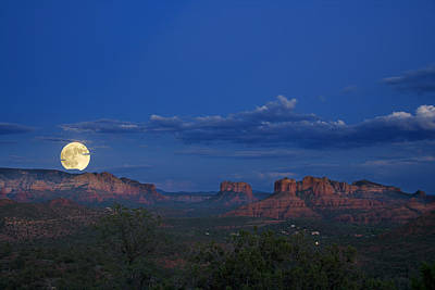 Christmas Cards - Moonrise over Red Rocks by Alexey Stiop