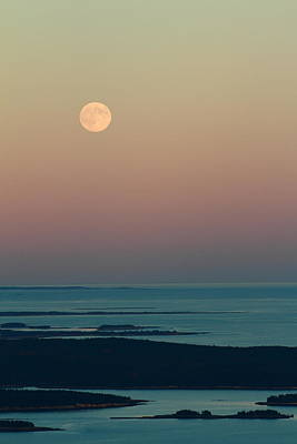 Mount Dessert Island Photograph - Moonrise Over Schoodic Point by Acadia Photography