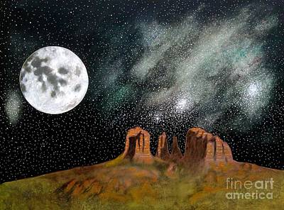 Painting - Moonrise Over Sedona by John Lyes