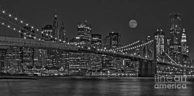 Moonrise Over The Brooklyn Bridge Bw Print by Susan Candelario