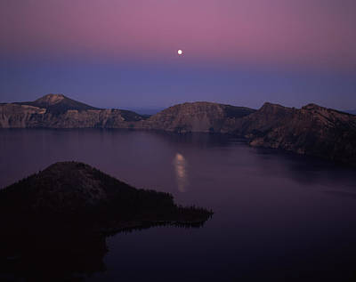 Wizard Island Photograph - Moonrise Over Wizard Island, Crater by Panoramic Images