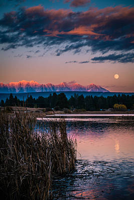 Moonrise Rocky Moutains Art Print