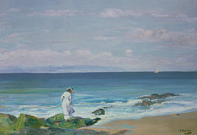 Lady On The Beach Painting - Moonrise by Sir John Lavery