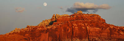 Photograph - Moonrise Sunset At Capitol Reef  Panorama by Lee Kirchhevel