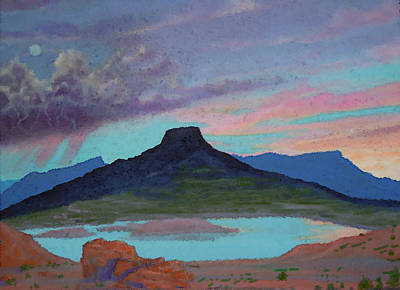 Abiquiu Painting - Moonrise With Thunderstorm Over Abiquiu Lake And Pedernal Mountain by Anastasia Savage Ealy