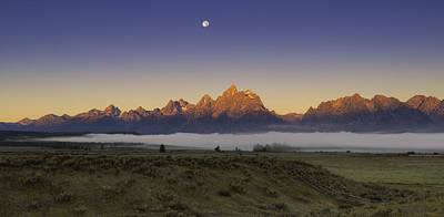 Moonset At Dawn Grand Teton National Park Art Print by Joseph Rossbach