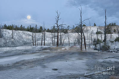 Moonset At Mammoth Terrace-yellowstone Art Print