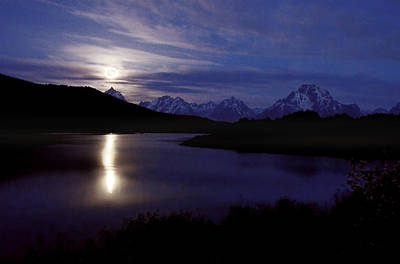 Photograph - Moonset At Oxbow Bend by Ken Smith