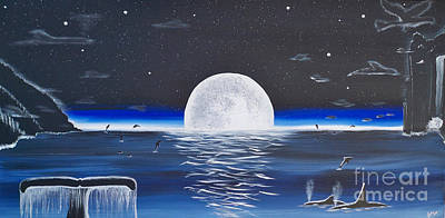 Painting - Moonset by A Cyaltsa Finkbonner