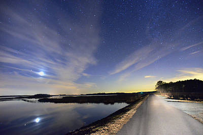 Photograph - Moonset On Blackwater Refuge by Dana Sohr