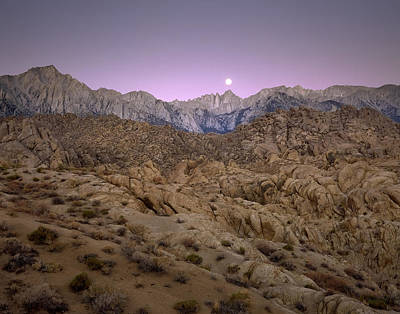Photograph - Moonset On Mt. Whitney by Paul Breitkreuz