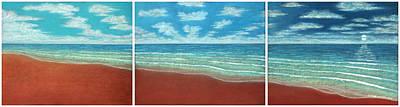 Pastel - Moonset Triptych by Michael Heikkinen
