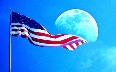 Photograph - Moonshine On The American Flag by Jodie Marie Anne Richardson Traugott          aka jm-ART