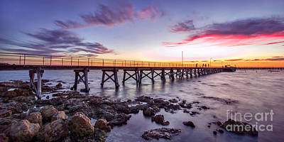 Photograph - Moonta Bay Jetty Sunset by Shannon Rogers