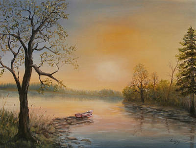 Painting - Moored At Sunset by Katalin Luczay