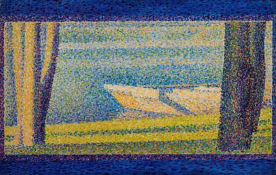 Pointilist Painting - Moored Boats And Trees by Georges Seurat