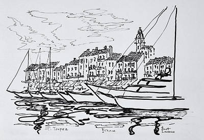 Pen And Ink Drawing Photograph - Moored Boats In The Harbor by Richard Lawrence