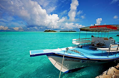 Moored Dhoni At Sun Island. Maldives Print by Jenny Rainbow