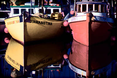 Art Print featuring the digital art Moored Fishing Boats by Richard Farrington