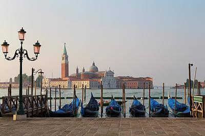 Photograph - Moored Gondolas And San Giorgio Maggiore by Martin Child