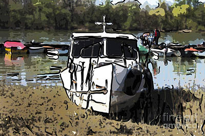 Moored Small Boat Art Print