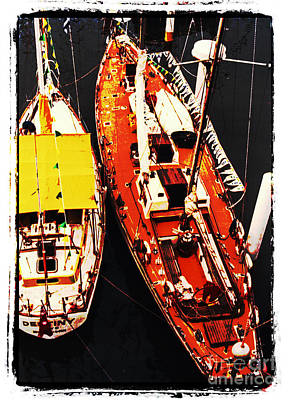 Digital Art - Moored Yachts by Fran Woods