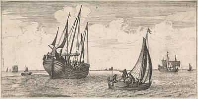 Herring Drawing - Mooring Of The Mail Boat, Print Maker Joost Van Geel by Joost Van Geel And Jacob Quack
