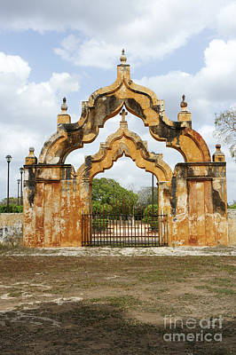 Photograph - Moorish Gate 2 Yaxcopoil Mexico by John  Mitchell
