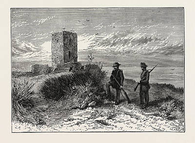 Eclipse Drawing - Moorish Tower At Gibraltar Station Of The Eclipse Expedition by English School