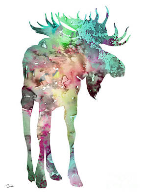 Moose Watercolor Painting - Moose 4 by Watercolor Girl