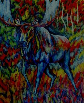 Animal Painting - Moose Abstract 2 by Lauri Kraft