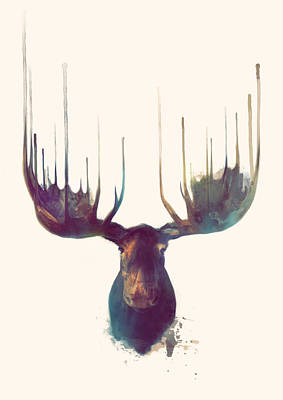 Animal Painting - Moose by Amy Hamilton
