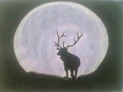 Thomas Brown Painting - Moose And Moon by Thomas Brown