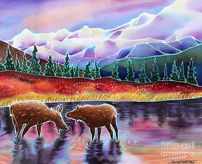 Moose At Rainbow Lake Original by Harriet Peck Taylor