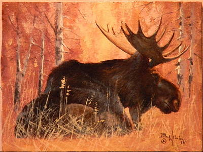Painting - Moose At Rest by Paul K Hill