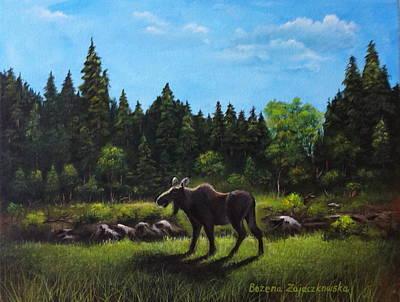 Painting - Moose by Bozena Zajaczkowska
