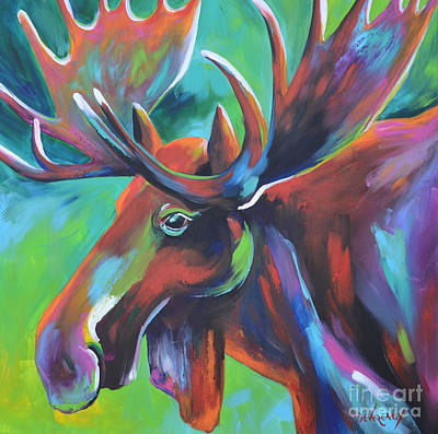 Wild Horse Painting - Moose by Cher Devereaux