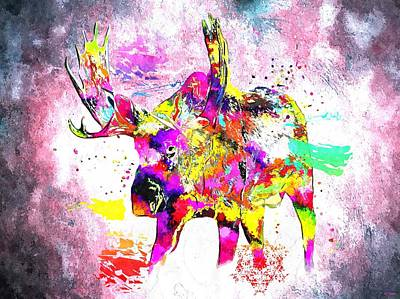 North American Wildlife Mixed Media - Moose Grunge by Daniel Janda