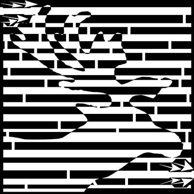 Sports Maze Drawing - Moose Head Maze  by Yonatan Frimer Maze Artist