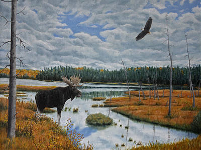 Eagle Painting - Moose In Bog by Sid Ball