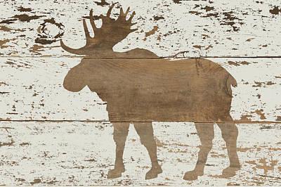 Reclaimed Wood Wall Art - Painting - Moose In Reverse by Ramona Murdock