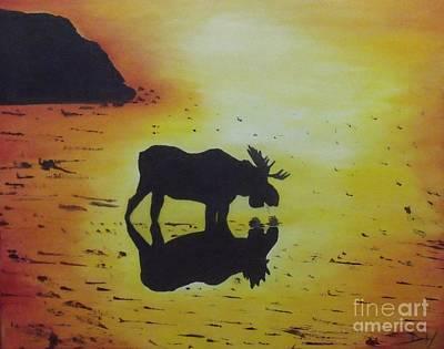 Moose In The Sunset Art Print by Debra Piro