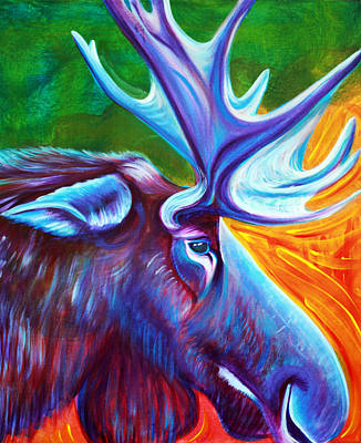 Maine Painting - Moose by Laura Barbosa